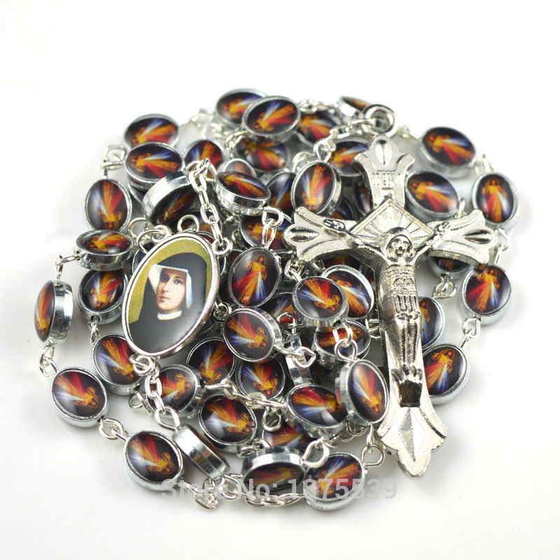 Fashion Jesus Mercy catholic rosary with color Jesus picture oval alloy bead