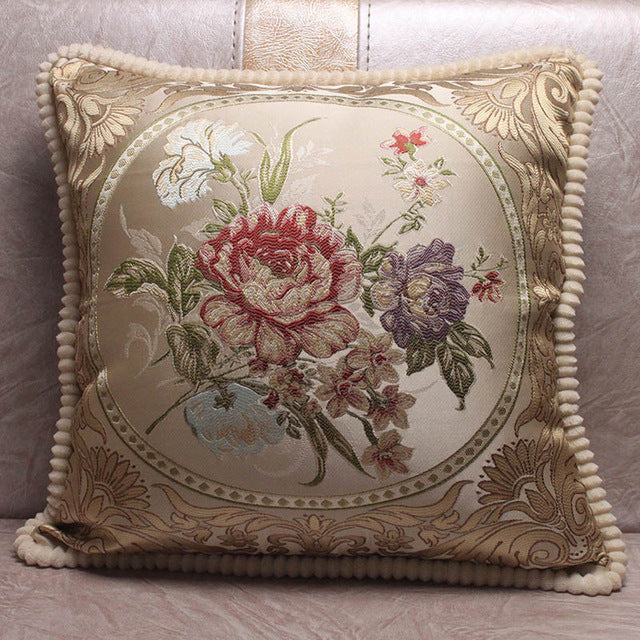 European Style Jacquard Elegant Floral Decorative Cushion Covers for Sofa / Square Classic Throw Pillow Covers New House Gifts