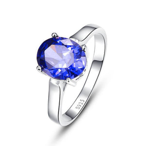 Promotion Wedding Jewelry 4.3carats Blue Topaz Rings Fashion Female Tanzanite Stone Pure Solid 925 Sterling Size 6.7.8.9