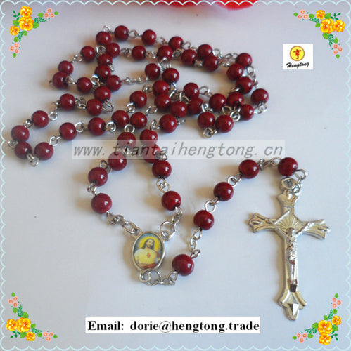 Freeshipping 6mm glass beads religious rosary necklace, dark red  catholic rosary  with alloy cross and centerpiece