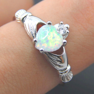 2017 Mom Jewelry 100% 925 Sterling Silver Ring Opal Ring White Opal Heart Ring Engagement Jewelry Love ring Size 5/6/7/8/9/10/11