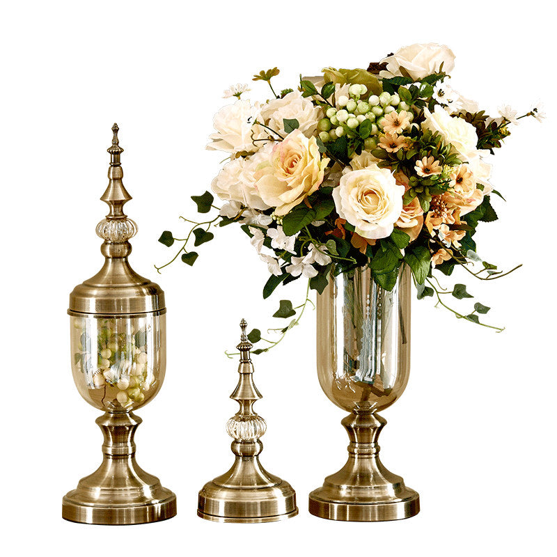 Flower vase bronze Tall glass vases Decoration vase Candy jar Tapletop vases decorations Living room decoration
