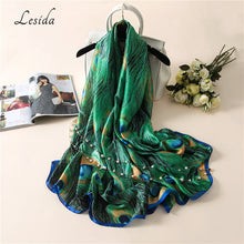 LESIDA Luxury Brand Women Green Silk Shawl Peacock Feather Print Scarves Big Size Echarpes Femme Cachecol Foulards 180*90CM 3004