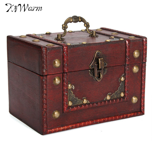 KiWarm Vintage Retro Metal Lock Wooden Box Jewelry Pirate Treasure Case Storage Box Holder Home Decor Decoration Crafts Gifts
