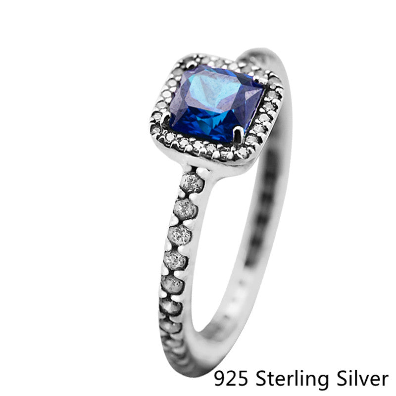 925 Sterling Silver Rings European Style Jewelry Blue Crystal Ring For Women Original Fashion Charms CKK