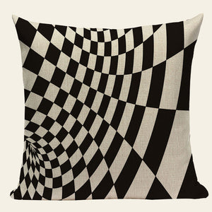 Chevron Black Linen Cotton Geometry Decor Throw Pillows Case Linen for Sofa Car Cotton Cushion Cover Creative Decoration Custom