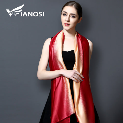 [VIANOSI] 2017 Brand bandana Gradient color Silk Scarf Women Luxury hijab shawl Long Scarves Fashion Summer Scarf VA108