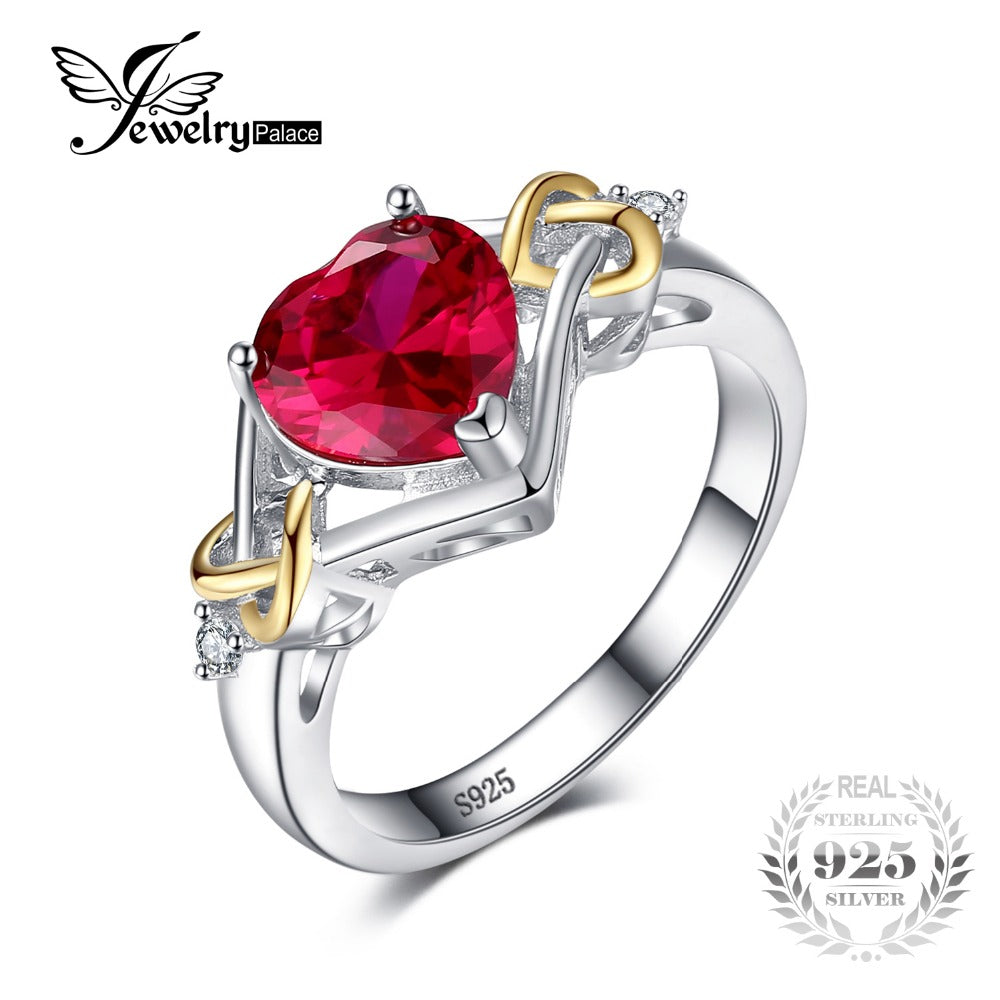 JewelryPalace Love Knot Heart 2.5ct Created Red Ruby Anniversary Promise Ring 925 Sterling Silver 18K Yellow Gold Women Fashion