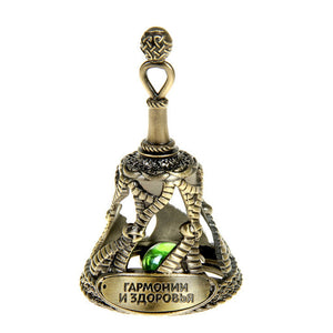 """Harmony and health""Bell with a stone amulet.nice charm holiday gifts vintage home decoration. Metal archaize Chunch souvenirs"