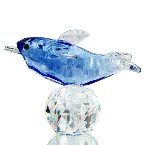 H&D Glass Crystal Blue Dolphin Figurines with Crystal Ball Paperweight Crafts Collection Table Car Souvenir Home Decoration