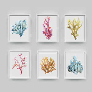 Corals Art Print Wall Pictures Home Decor  , Watercolor Cora Print Wall Art Hanging Bathroom Canvas Painting Nautical Decoration