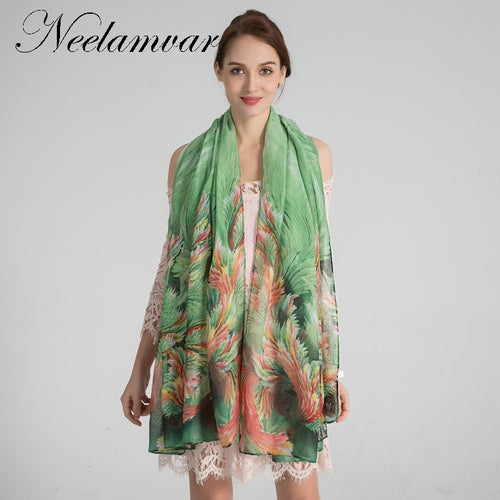 Neelamvar fashion women scarf Voile leaves Print Scarf Wraps Shawl Soft Scarves female Tippet foulard cachecol shawl 6 colours