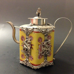 Chinese handwork inlay silver dragon cyan yellow porcelain teapot monkey lid metal handicraft home decoration kettle teapot