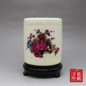 New Jingdezhen porcelain Jade pottery crafts high - grade ceramic hollow ivory pen