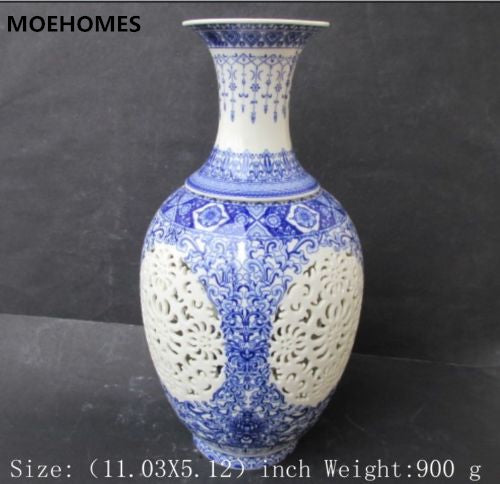 MOEHOMES china Antique porcelain vase hollow birds and flowers Home decoration living room decorative porcelain wine pot vase