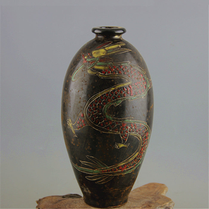 #6 Antique SongDynasty porcelain vase,Dingyao black olive dragon bottle ,Hand-painted crafts,Home Decoration,Collectio&Adornment