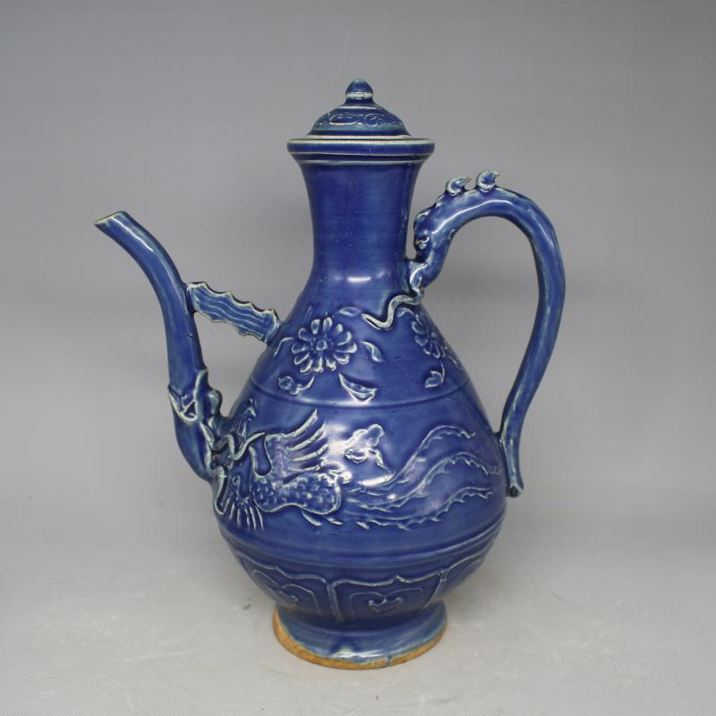 antique old Chinese QingDynasty porcelain tea pot,blue,Phoenix flagon,Home Decoration/ crafts,Collection&Adornment,Free shipping