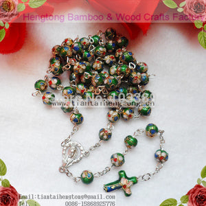 green cloisonne rosary,catholic cloisonne necklace for made from 8mm bead(4color available)