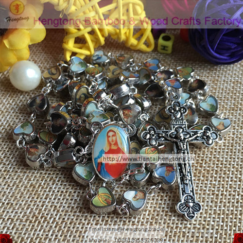 free ship religious heart rosary bead, catholic rosary necklace N1418-511