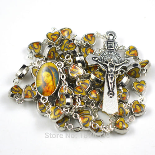 Our Lady of Guadalupe alloy bead and center medal catholic rosary