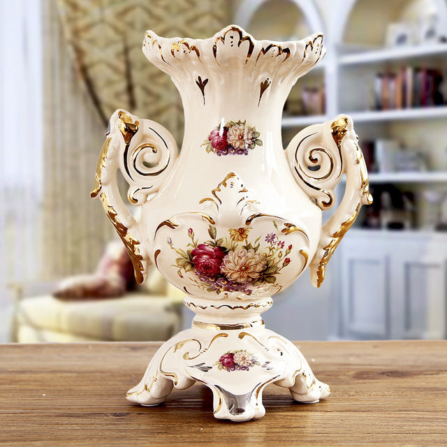 European ceramic vase The living room table furnishing articles retro flower vase porcelain home decoration