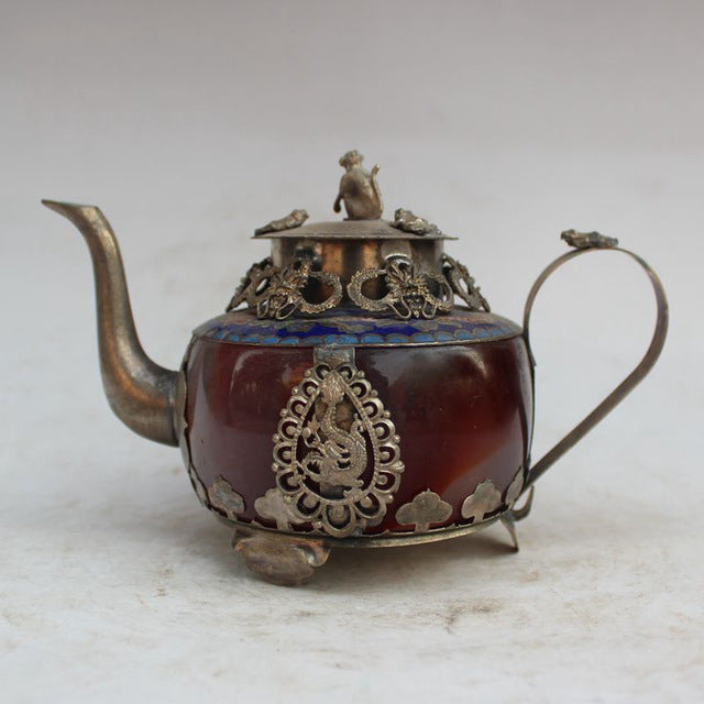 Antique Collection Old Bronze Inlay Jug Chinese Classical Living Room Bedroom Study Friendship Gifts Home Furnishings Decoration