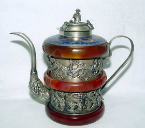 christmas decorations for home+ Vintage Tibet Silver Jade Dragon Bracelet Tea pot Monkey Lid