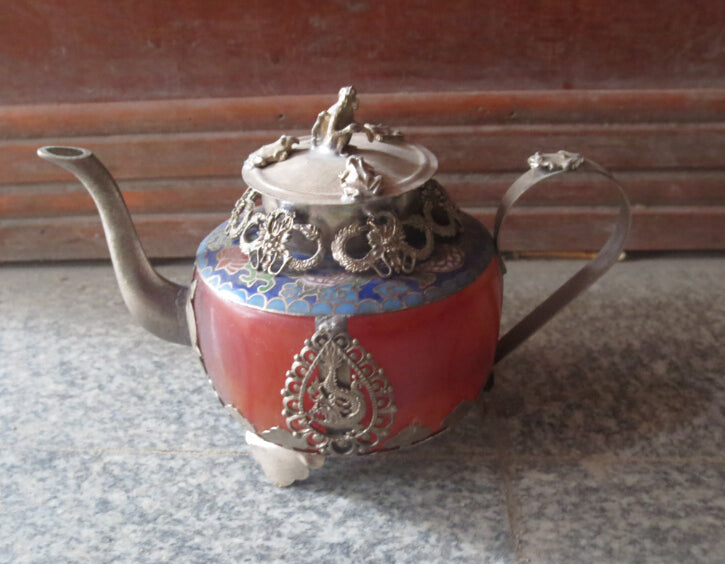 christmas decorations for home+ Collectible Decorated chinese flagon Handwork Tibet siliver agate teapot  shipping
