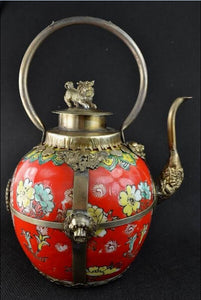 christmas decorations for home+ Collectibles Decorated tibet silver red Porcelain Lion lid big Teapot