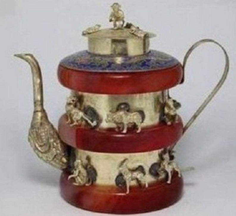 christmas decorations for home+ Tibet silver red jasper 12 Animal teapot flagon