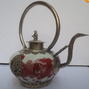 christmas decorations for home+ Collectible Decorate Handwork Porcelain pot,Tibet Silver painting Tea Pot 04  Shipping