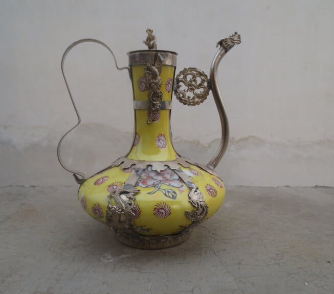 christmas decorations for home+ Collectibles Tibet Silver Handwork Yellow Porcelain Big Wonderful Tea Pot 002