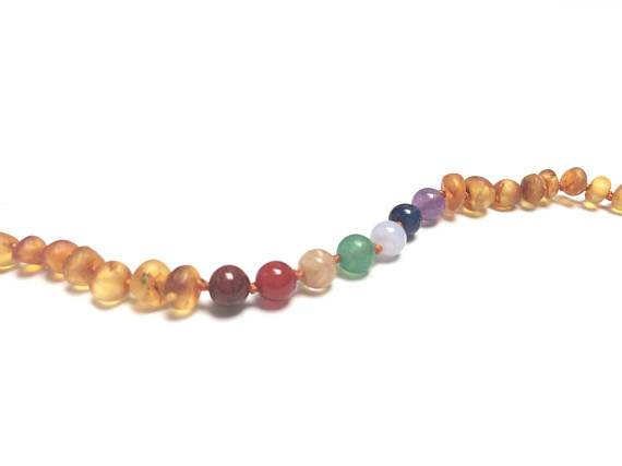 CanyonLeaf - Raw Baltic Amber + Chakra Crystals || Necklace 12""