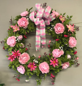 Spring Plaid Floral Wreath