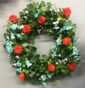Orange & Aqua Floral Wreath