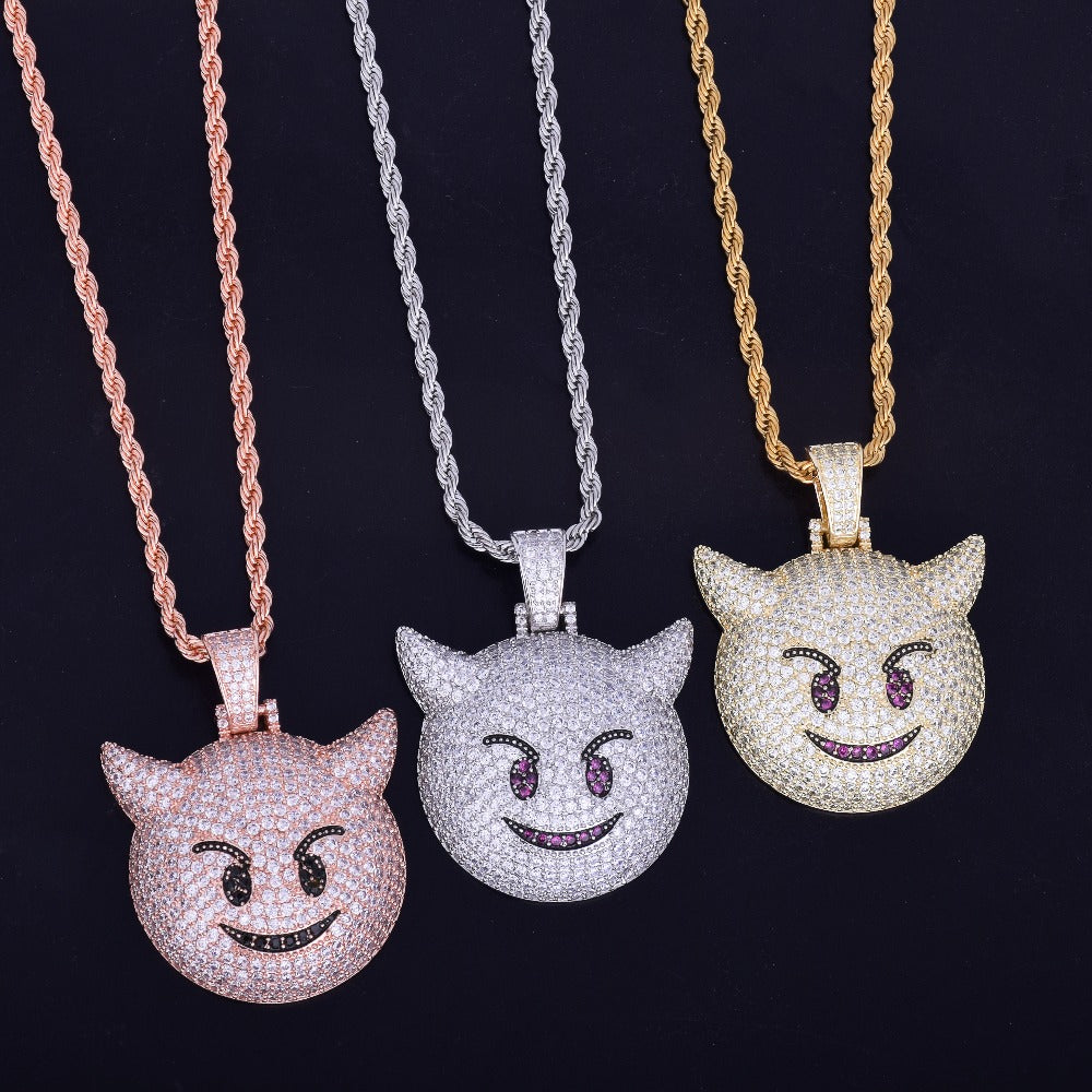 Iced Demon Evil Emoji Pendant With Chain