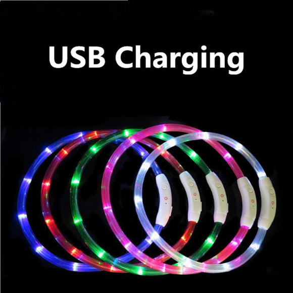Rechargeable Flashing Night Dog Collars USB luminous pet collar led light USB charging dog collar glowing Teddy Flash Collar Pet