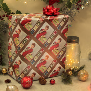 Custom photo gift wrapped package with Santa postage