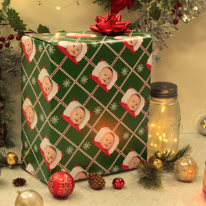 Christmas scene with personalized photo gift wrapping paper package