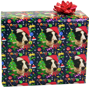 Custom photo gift wrap with dog and Christmas ornaments