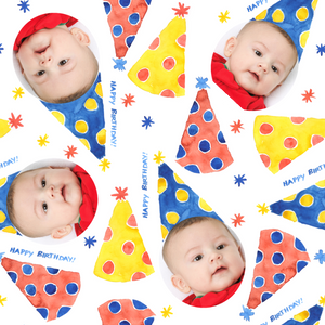 Water color party hats designer gift wrapping paper with baby picture