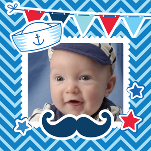 Designer gift wrap template with baby photo