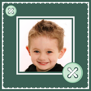 Green buttons with boy custom photo gift wrapping paper design