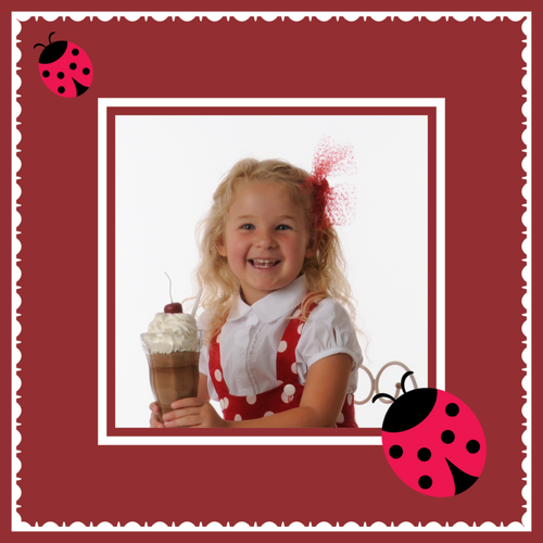 Red ladybug frame with your custom photograph gift wrapping paper design