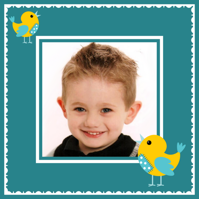 Designer gift wrapping paper with baby photograph and yellow chicks
