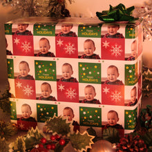 Package wrapped with personalized photo gift wrap