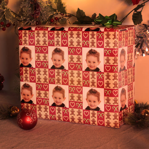 Ginger bread, hearts and candy canes custom photo gift wrap