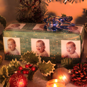 Love personalized photo gift wrapped package in Christmas setting