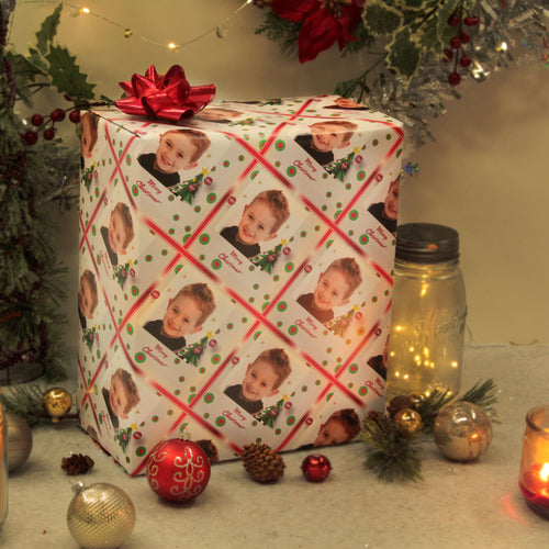 Custom photo gift wrapped package with little boy picture