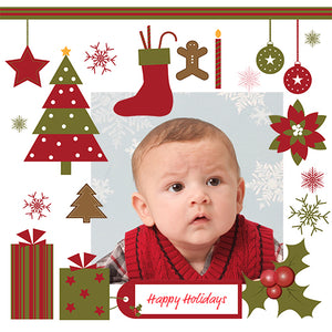 Designer gift wrap template with baby and Christmas ornaments